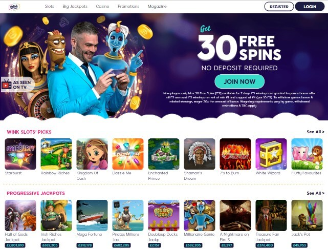 Wink Slots Review homepage