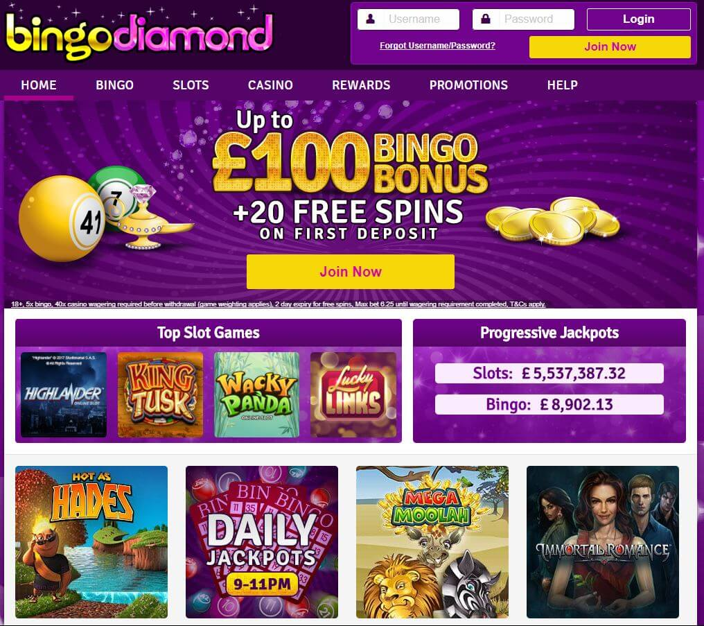 Bingo Diamond Review - Homepage