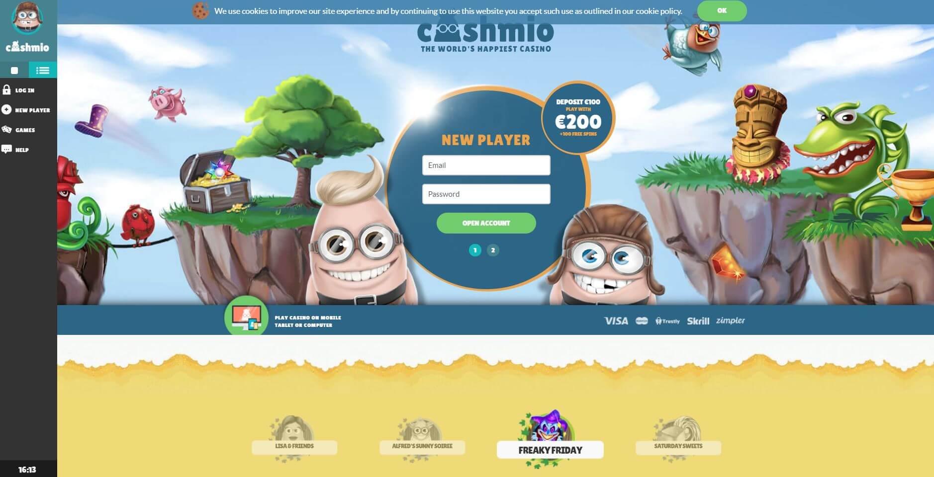 Cashmio Casino Review - Homepage
