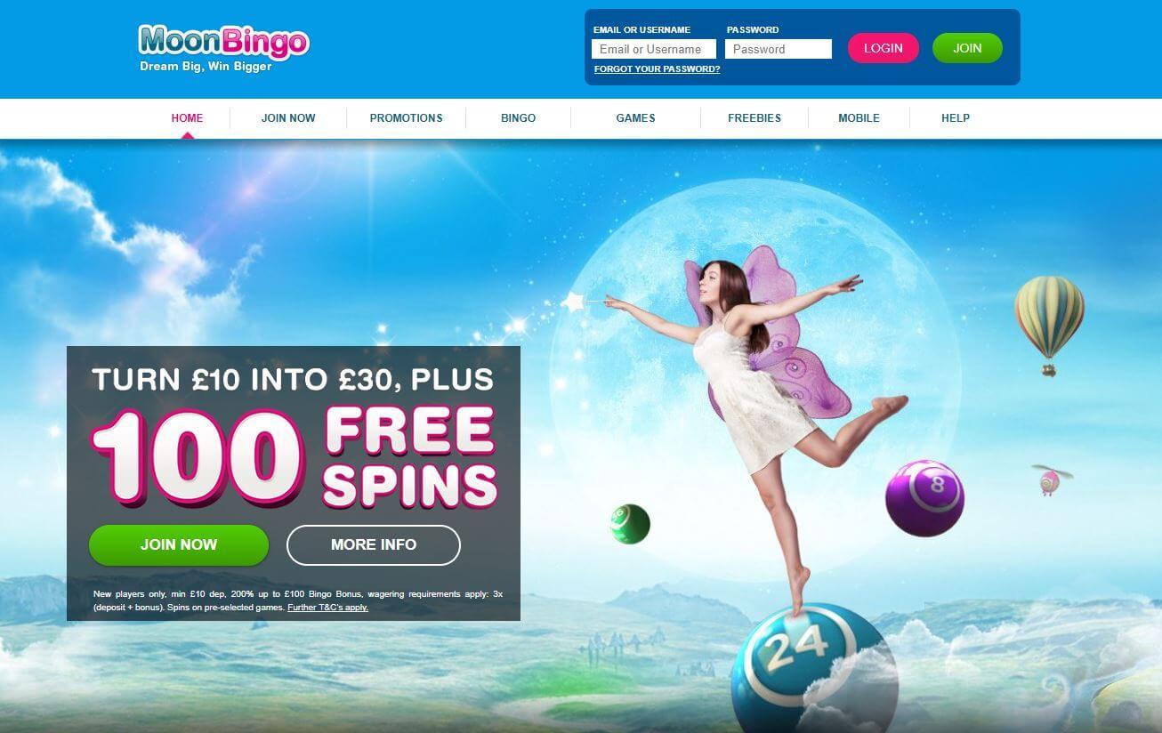 Moon Bingo Review Homepage