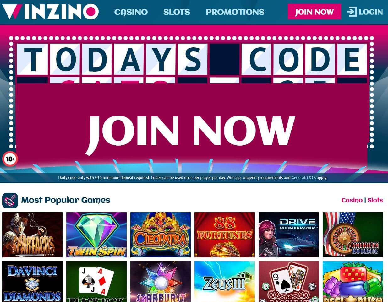 Winzino Casino Review - Homepage