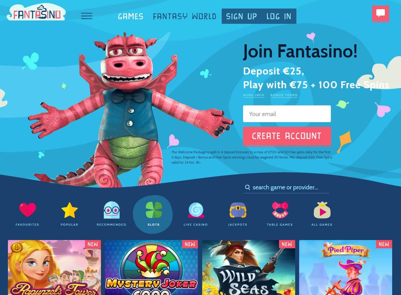 Fantasino Casino Homepage