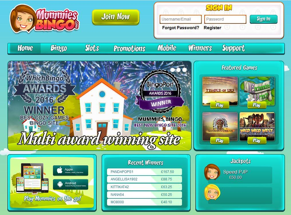Mummies Bingo Review Homepage