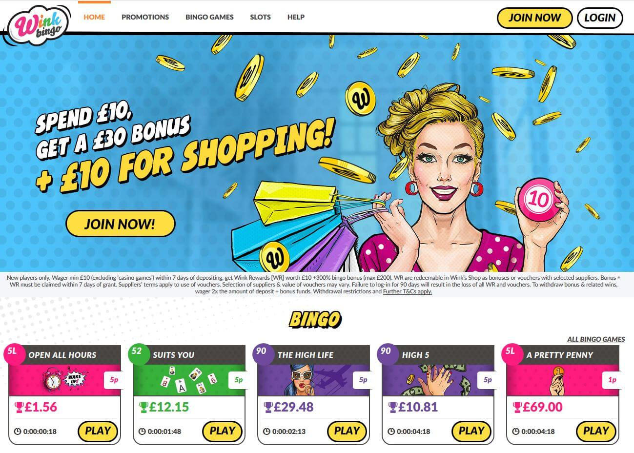 wink bingo review homepage