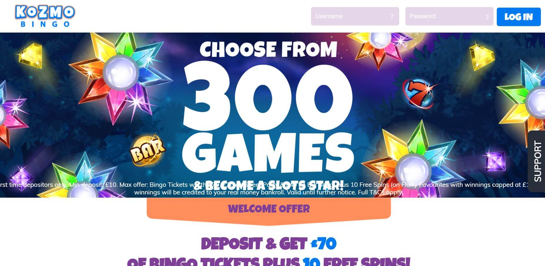 Kozmo Bingo Homepage