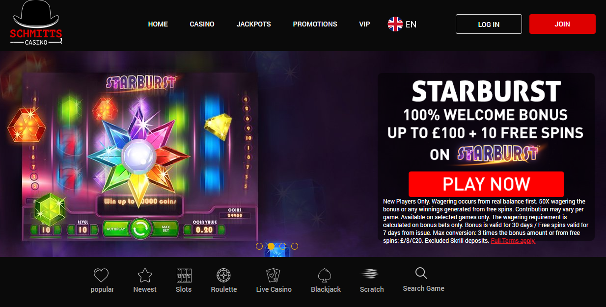 Schmitts Casino Review - Homepage