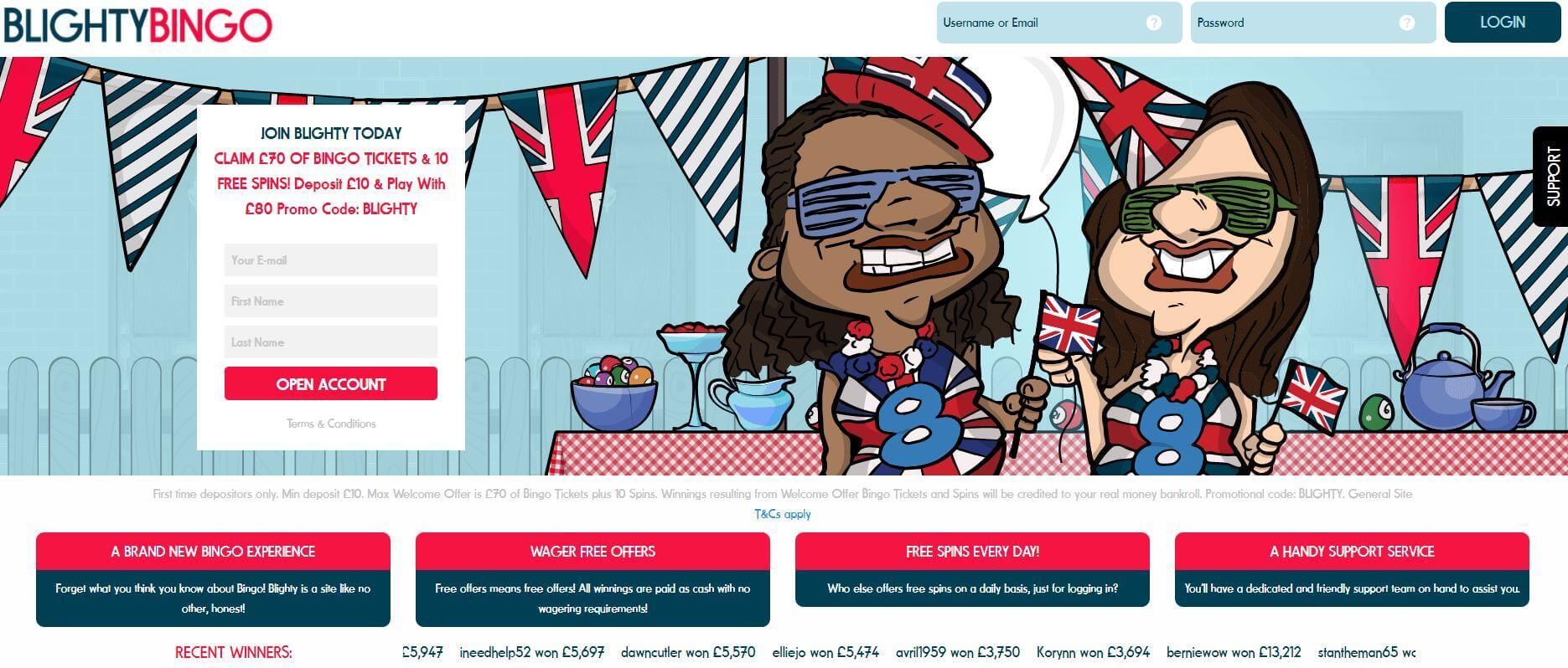 blighty bingo review homepage
