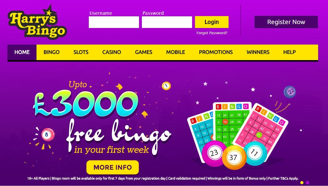 harrys bingo review homepage