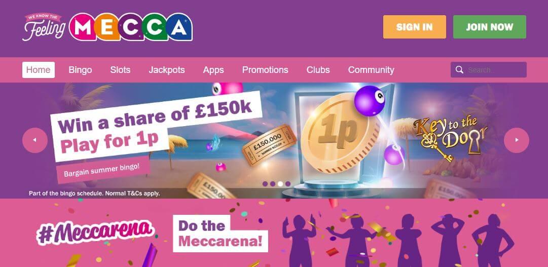Mecca Bingo homepage