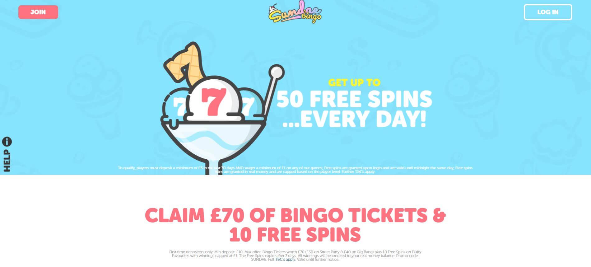 Sundae Bingo Homepage