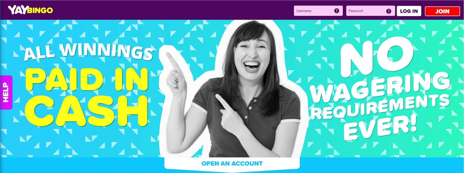 yay bingo homepage