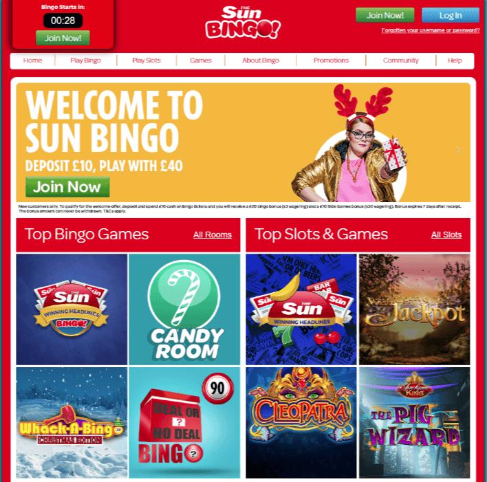 Sun Bingo homepage
