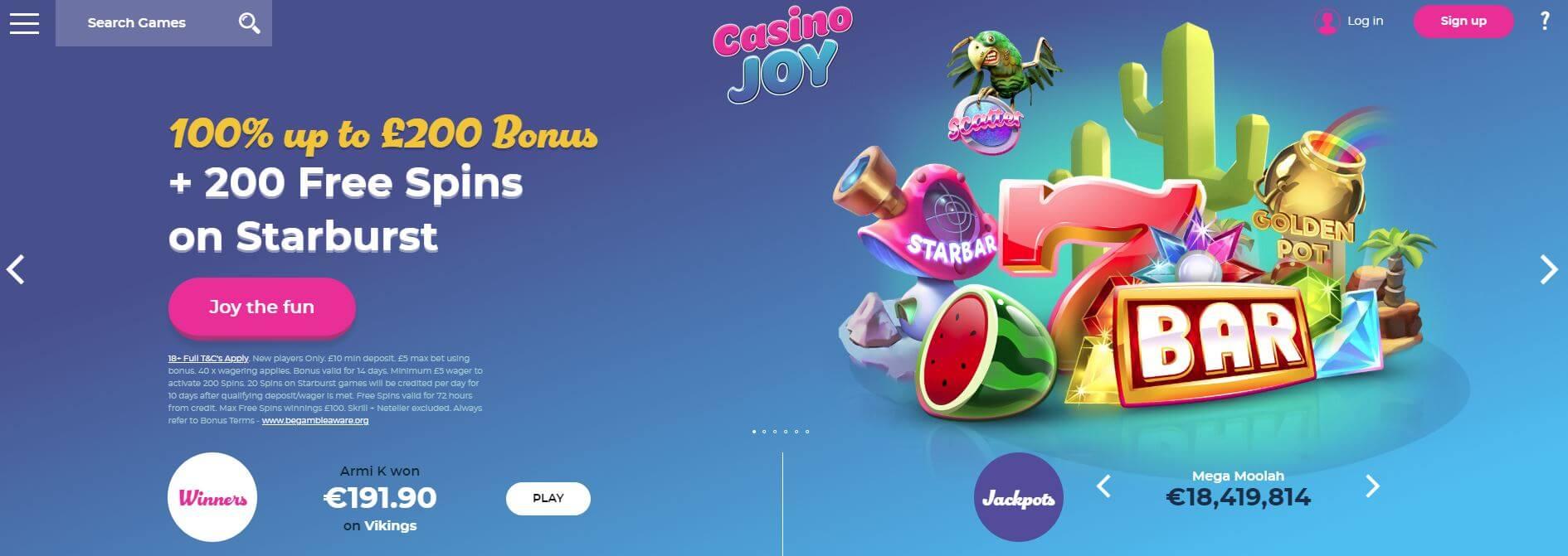 Casino Joy Homepage