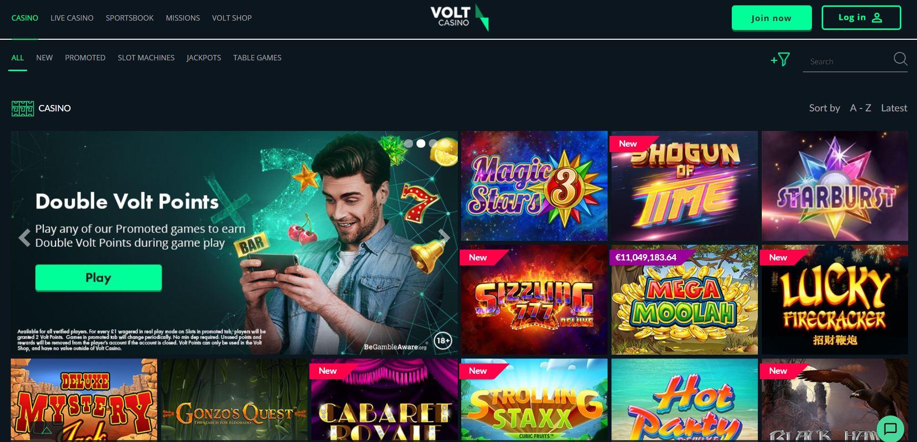 Volt Casino Homepage