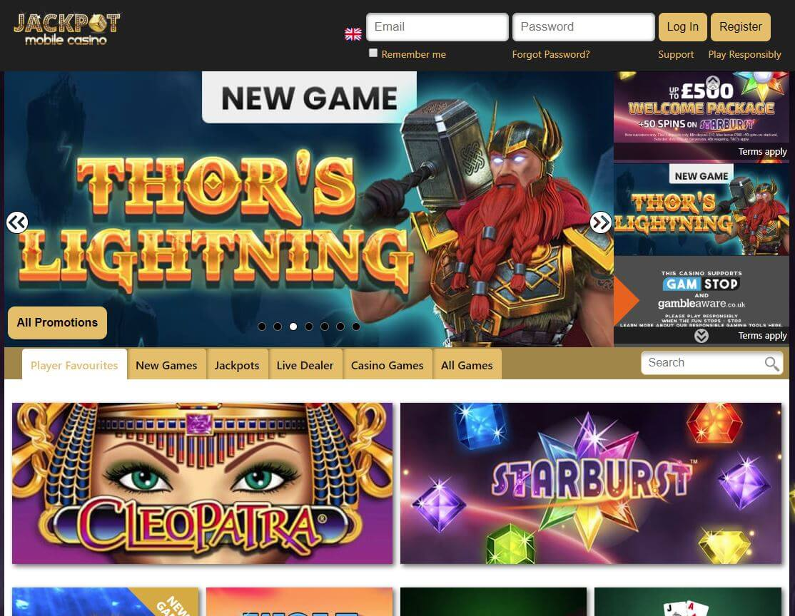 jackpotmobile casino homepage