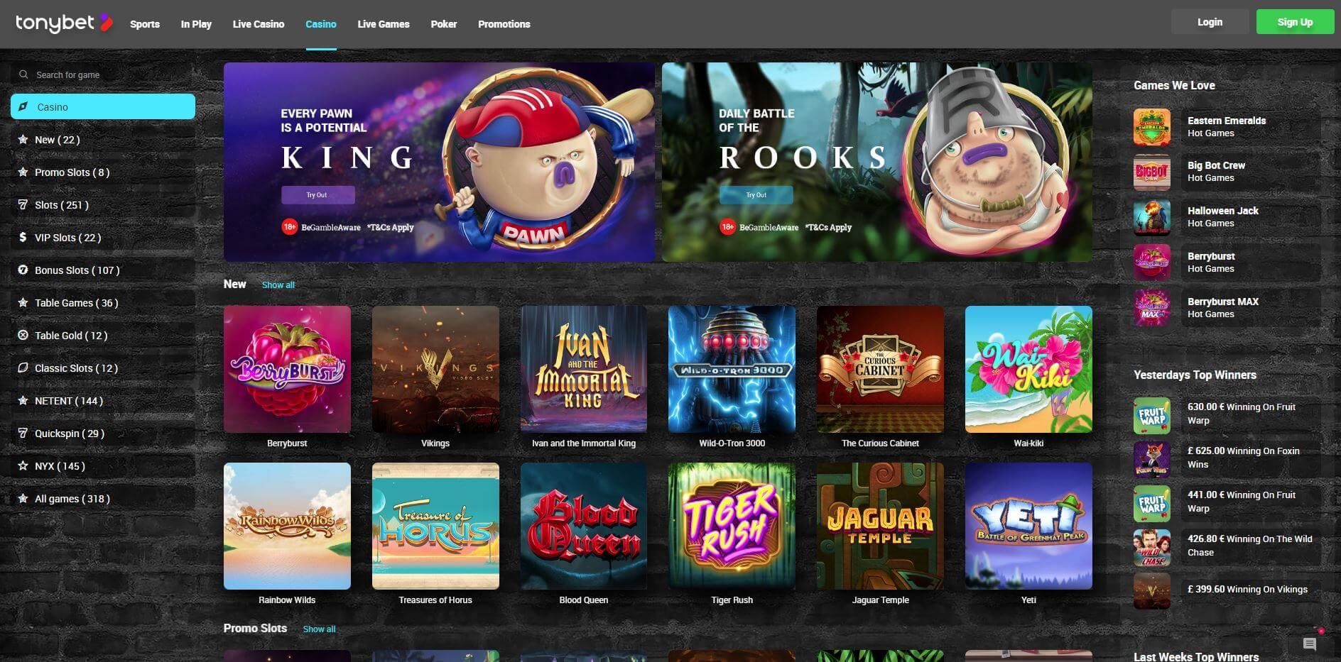 tonybet casino homepage