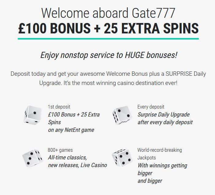 Gate777 Casino Bonus offer