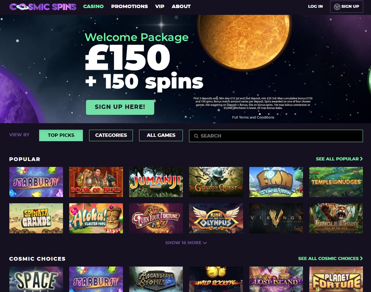 cosmic spins review homepage