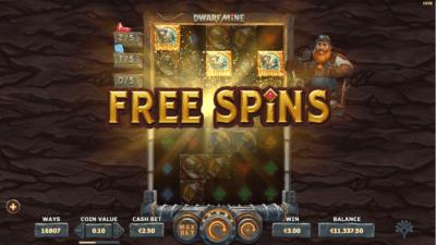 dwarf mine free spin mode