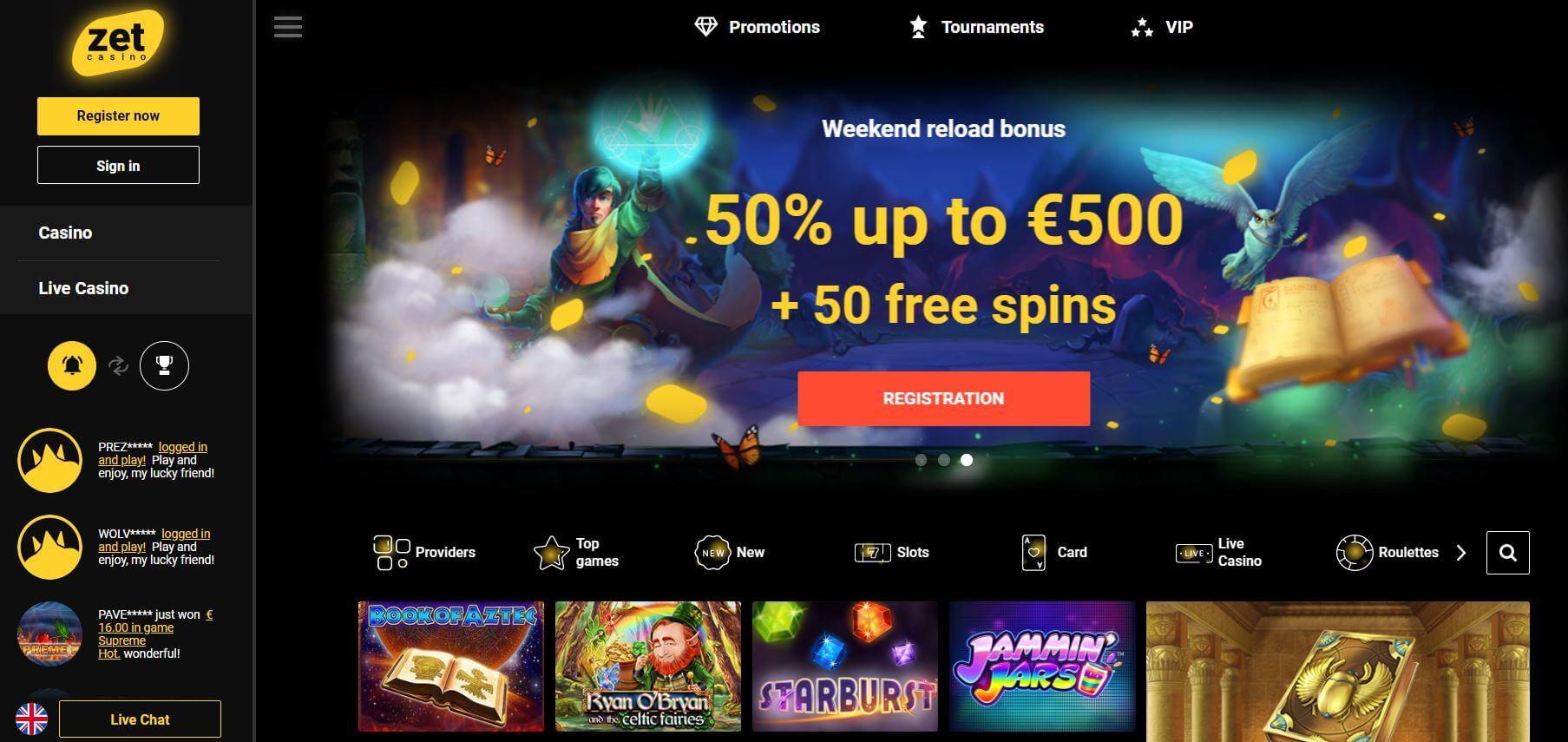 Zet Casino homepage