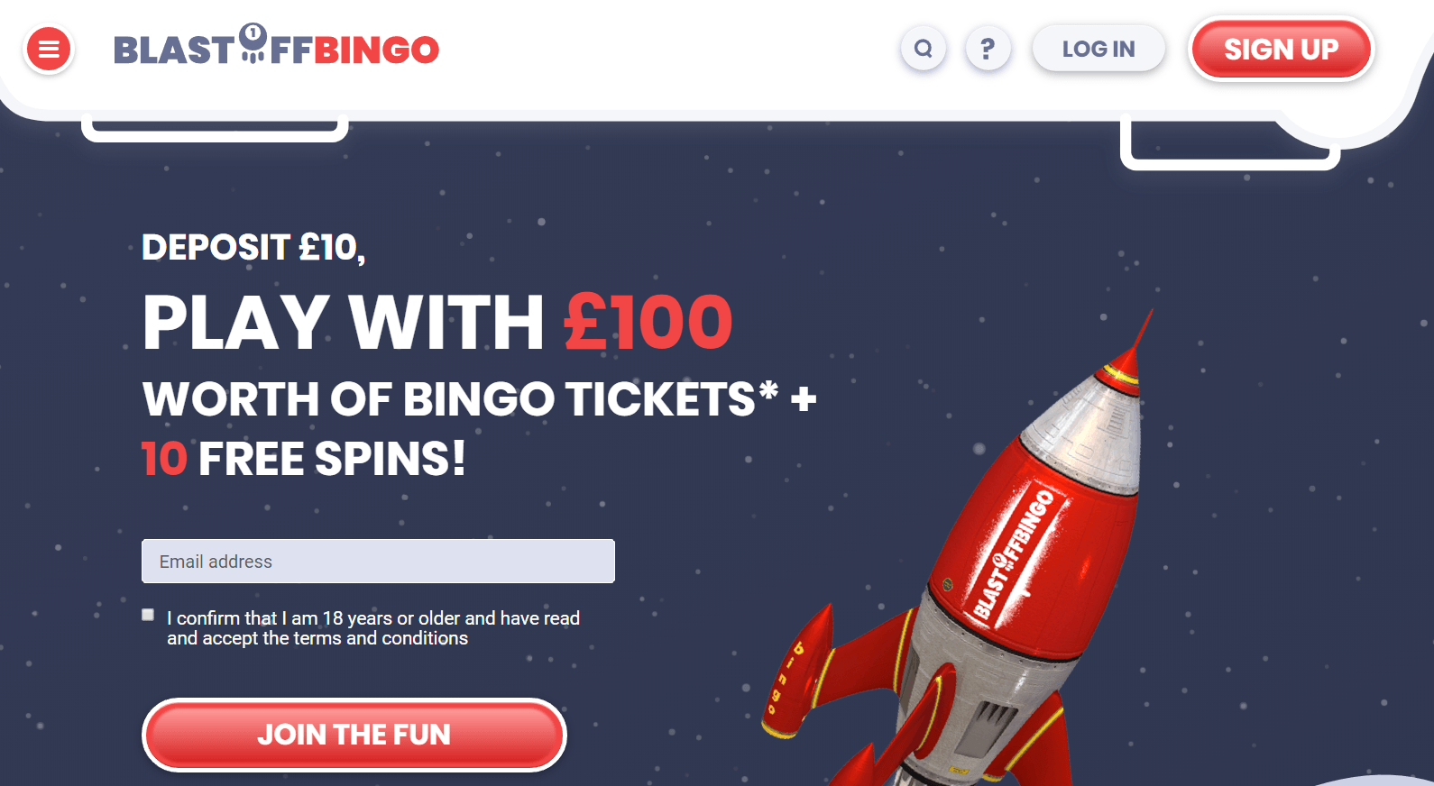 Blast Off Bingo homepage