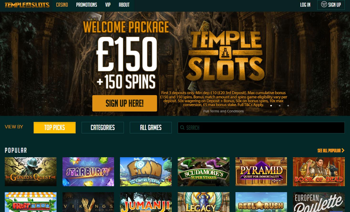 temple slots homepage