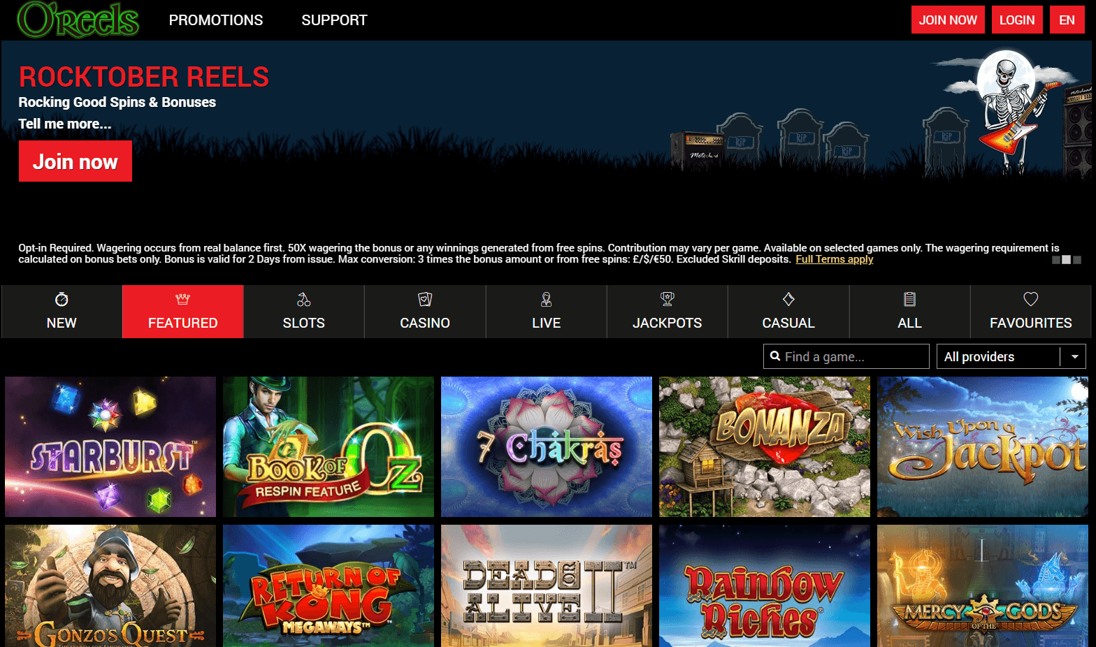 oreels casino homepage